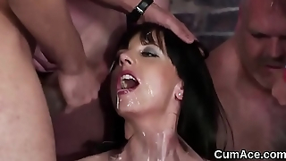 Feisty babe gets cumshot on her face gulping all the charge