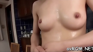 Slutty mom with merry tits takes unstinted cock in mouth and comestibles cum