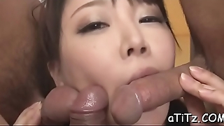 Japanese chick with hot tits arouses with oral-sex and titty fuck