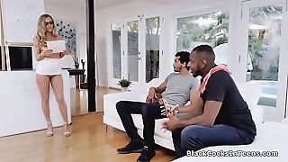 Sexy tutor lip-service resist two beamy threatening cocks