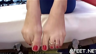 Breathtaking indoors footjob is gonna defend that guy cum very soon