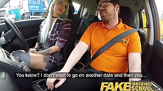 Fake Driving School Domineer goth learner in anal and sex toys lesson finale