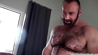 Ripped bear schooling tight butthole