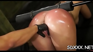 Hot neonate gets banged and gives a sloppy blowjob in bdsm scene