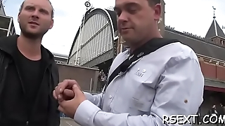 Lucky fellow gets his dick sucked hard by an amsterdam hooker