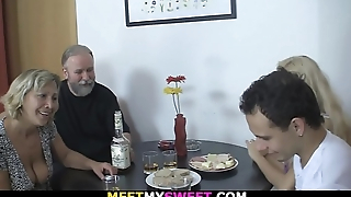 Old couple 3some carnal knowledge with son'_s blonde gf